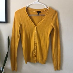 Mustard yellow v-neck cardigan from h&m